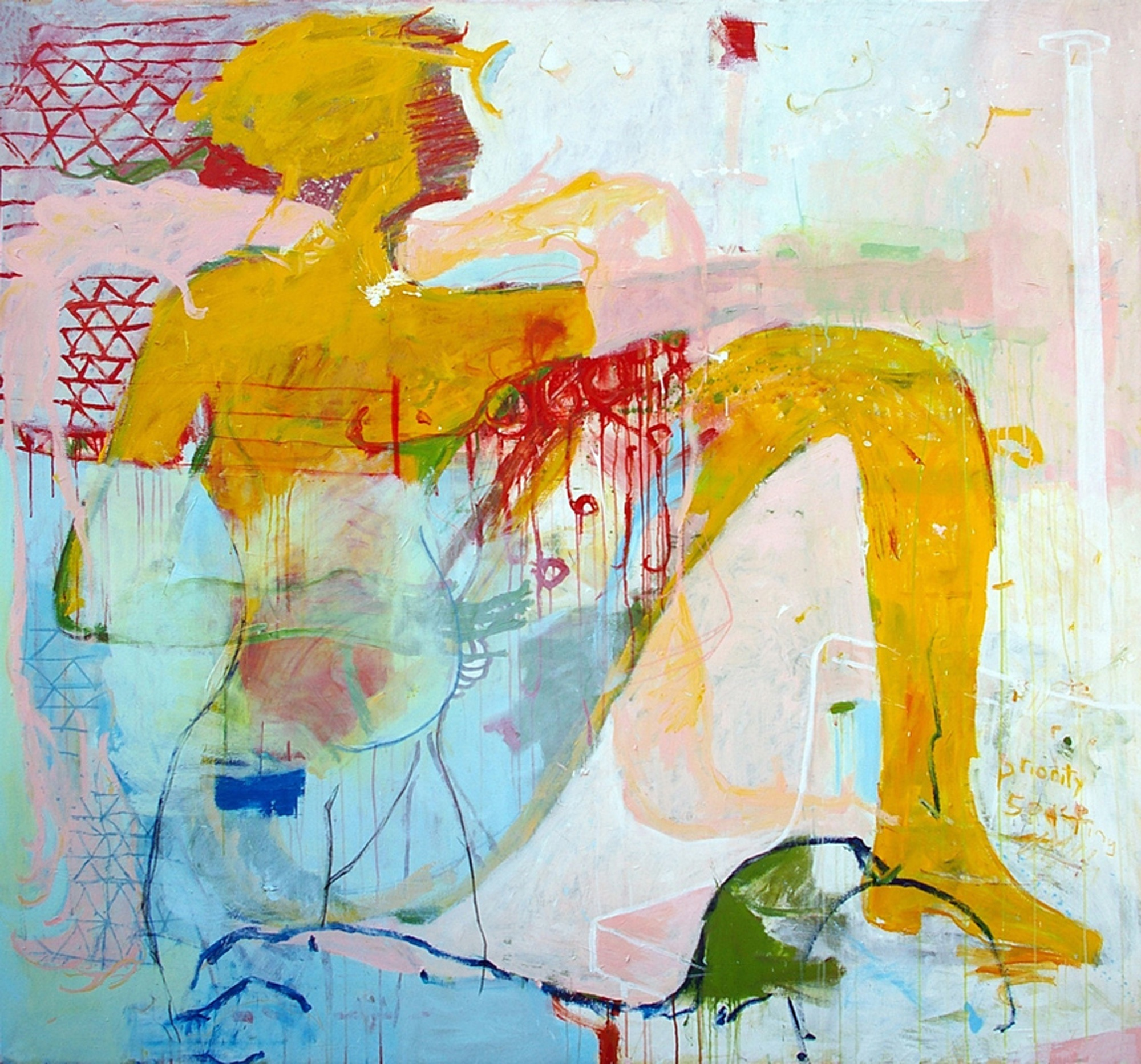 "... by Michael Manning, 2010; 84 x 80"", acrylic and oil stick on canvas"