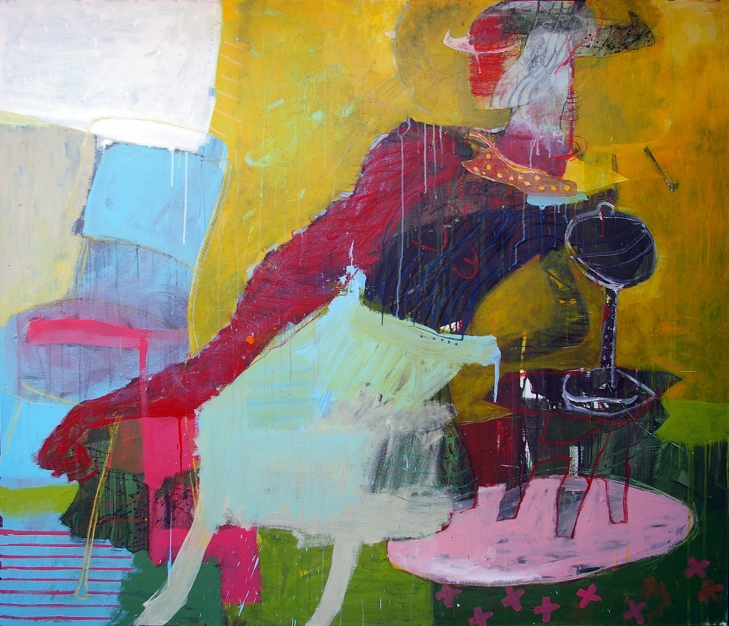2a. michael manning- right hand man- 58 x 68 acrylic and oil stick on canvas
